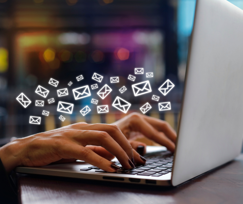 Person on laptop starting an email marketing campaign
